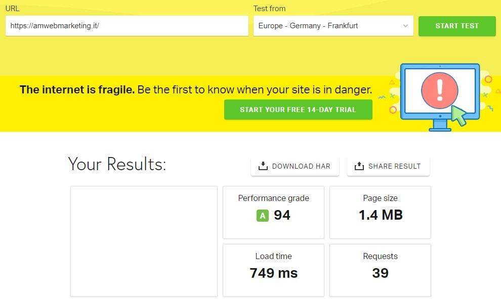 verificare la velocità del sito amwebmarketing.it